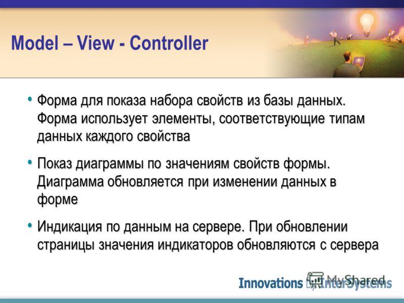 Model – View - Controller Форма для показа набора свойств из базы данных. Форма использует элементы, соответствующие типам данных каждого свойства Форма для показа набора свойств из базы данных. Форма использует элементы, соответствующие типам данных
