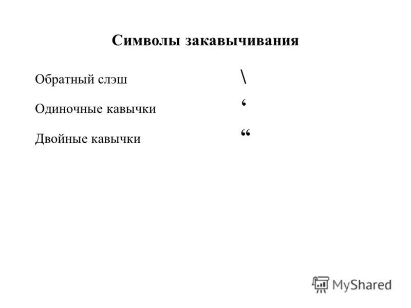 Символы закавычивания Обратный слэш \ Одиночные кавычки Двойные кавычки