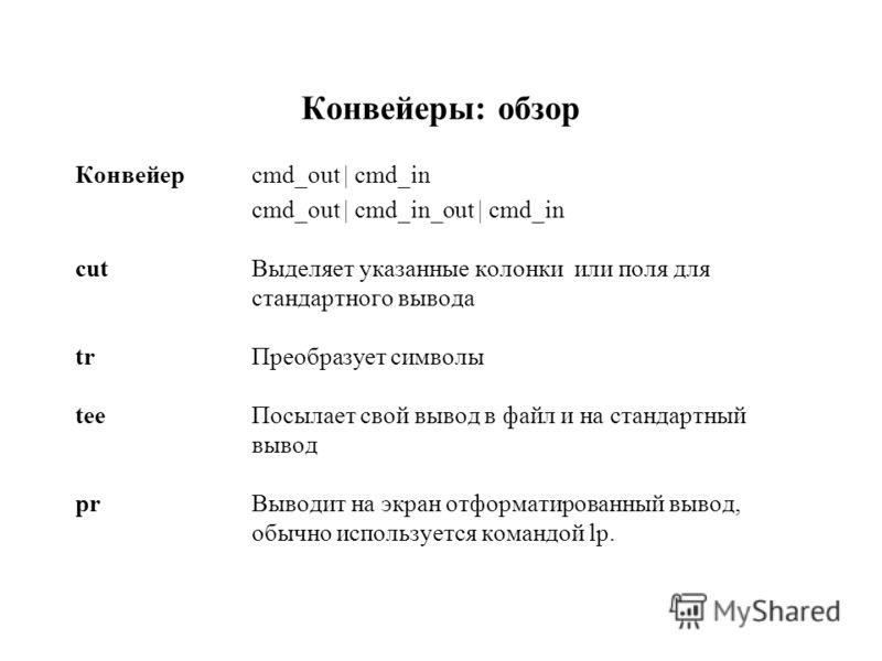 Конвейеры: обзор Конвейер cmd_out | cmd_in cmd_out | cmd_in_out | cmd_in cutВыделяет указанные колонки или поля для стандартного вывода trПреобразует символы teeПосылает свой вывод в файл и на стандартный вывод prВыводит на экран отформатированный вы