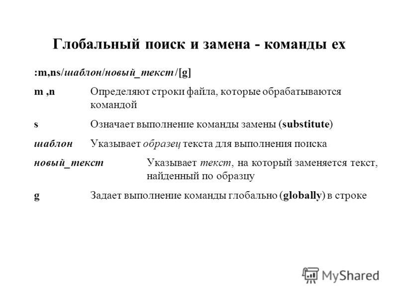 Глобальный поиск и замена - команды ex :m,ns/шаблон/новый_текст /[g] m,nОпределяют строки файла, которые обрабатываются командой sОзначает выполнение команды замены (substitute) шаблонУказывает образец текста для выполнения поиска новый_текст Указыва