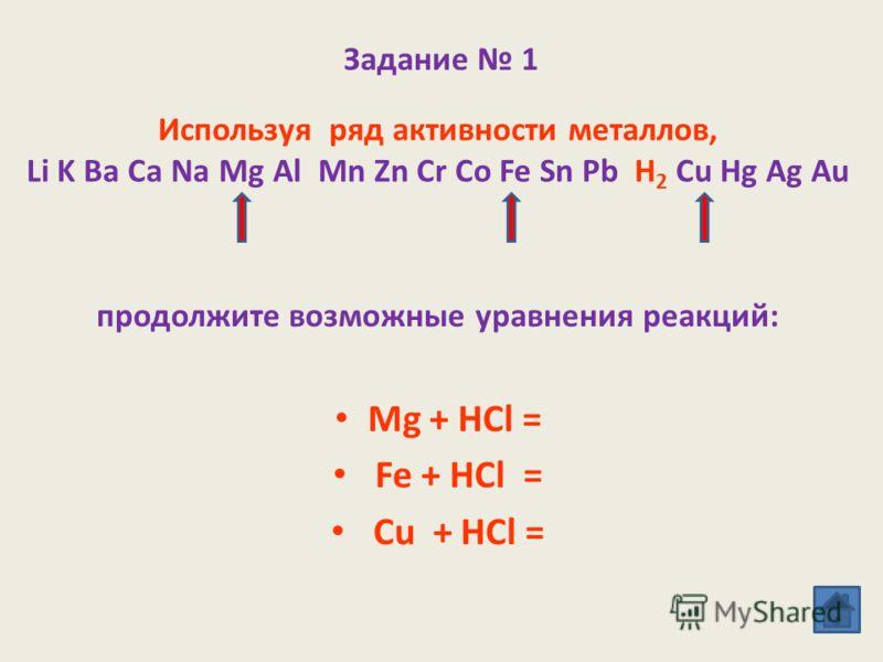 Ряд активности металлов (электрохимический ряд напряжений) Li K Ba Ca Na Mg Al Mn Zn Cr Co Fe Sn Pb H 2 Cu Hg Ag Au металлы, расположенные в ряду активности до водорода, вступают в реакции замещения с кислотами и водой, вытесняя из них водород. Н.Н.