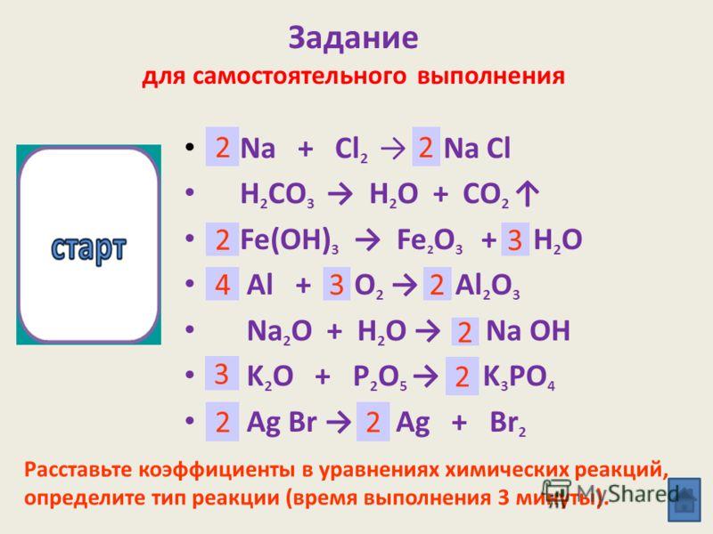 ип химической реакции? Повторение 2 Тип химической реакции? Расставьте коэффициенты в уравнениях химических реакций. Укажите условия течения реакций. CaCO 3 H 2 O H 2 O 2