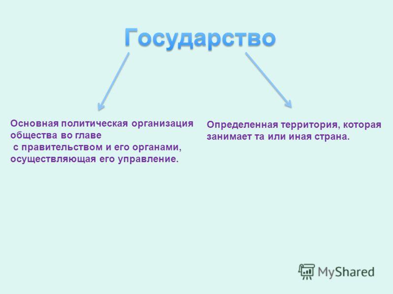 Основная политическая организация общества во главе с правительством и его органами, осуществляющая его управление. Определенная территория, которая занимает та или иная страна.