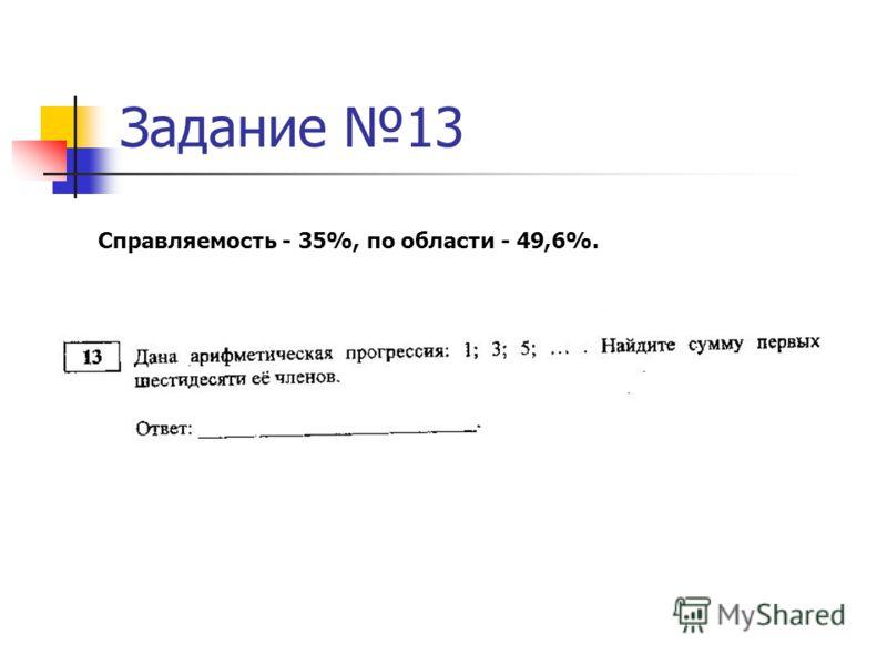 Задание 13 Справляемость - 35%, по области - 49,6%.