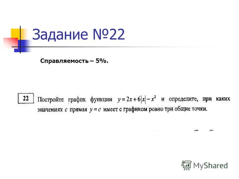 Задание 22 Справляемость – 5%.