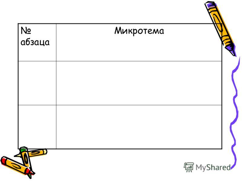 абзаца Микротема
