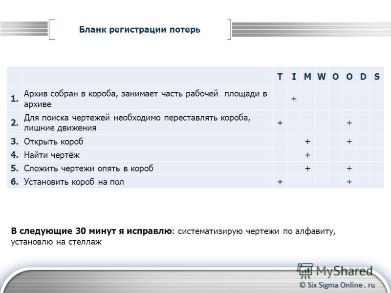 © Six Sigma Online. ru Бланк регистрации потерь Формирование группы участников Контроль за прохождением тренинга до конца Координирование действий участников TIMWOODS 1. Архив собран в короба, занимает часть рабочей площади в архиве + 2.2. Для поиска