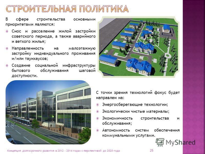 25 Концепция долгосрочного развития в 2012 - 2014 годах с перспективой до 2020 года В сфере строительства основными приоритетами являются: Снос и расселение жилой застройки советского периода, а также аварийного и ветхого жилья; Направленность на мал