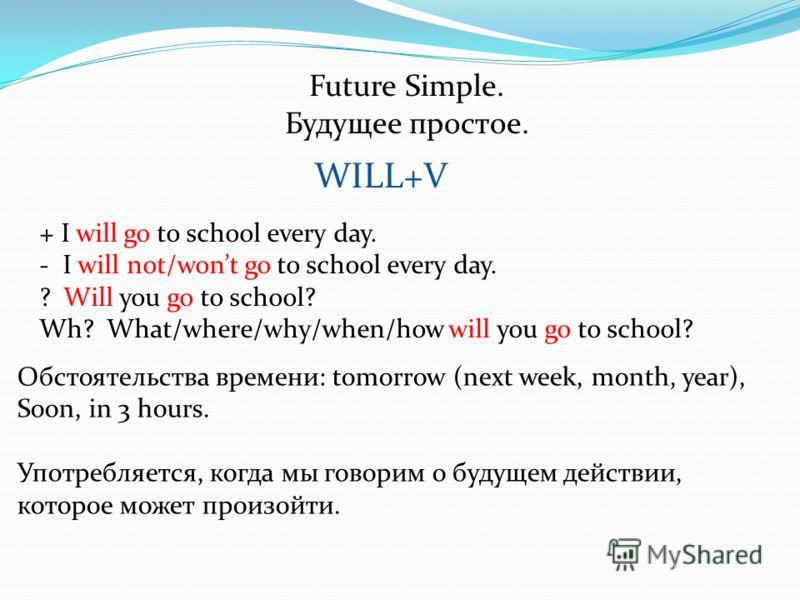 Future Simple. Будущее простое. Обстоятельства времени: tomorrow (next week, month, year), Soon, in 3 hours. Употребляется, когда мы говорим о будущем действии, которое может произойти. WILL+V + I will go to school every day. - I will not/wont go to