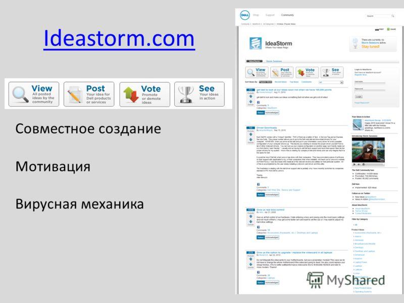 Ideastorm.com Совместное создание Мотивация Вирусная механика