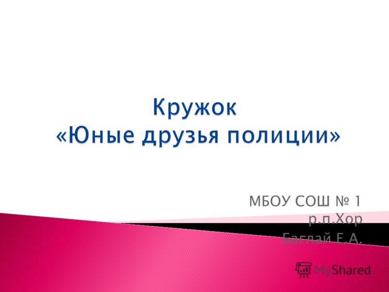 МБОУ СОШ 1 р.п.Хор Баглай Е.А.