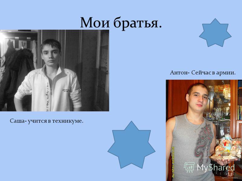 Мои братья. Саша- учится в техникуме. Антон- Сейчас в армии.