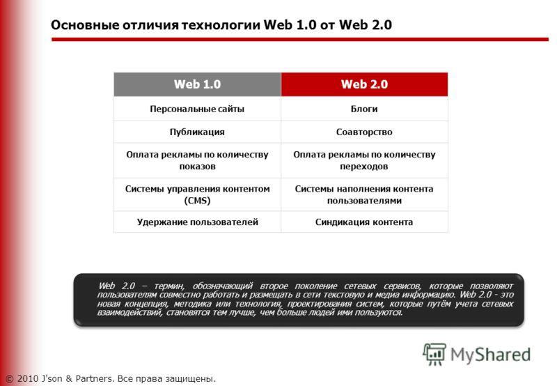 Основные отличия технологии Web 1.0 от Web 2.0 Web 2.0 – термин, обозначающий второе поколение сетевых сервисов, которые позволяют пользователям совместно работать и размещать в сети текстовую и медиа информацию. Web 2.0 - это новая концепция, методи