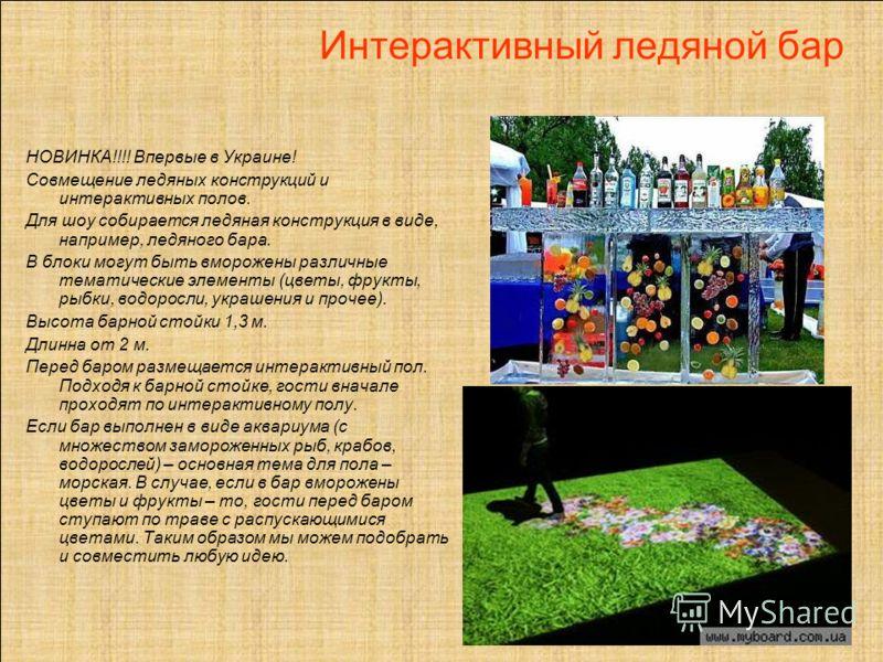 Интерактивный ледяной бар НОВИНКА!!!! Впервые в Украине! Совмещение ледяных конструкций и интерактивных полов. Для шоу собирается ледяная конструкция в виде, например, ледяного бара. В блоки могут быть вморожены различные тематические элементы (цветы