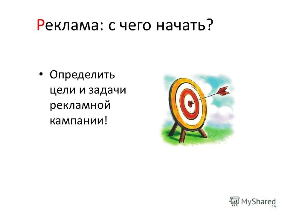 Реклама: с чего начать? Определить цели и задачи рекламной кампании! 15