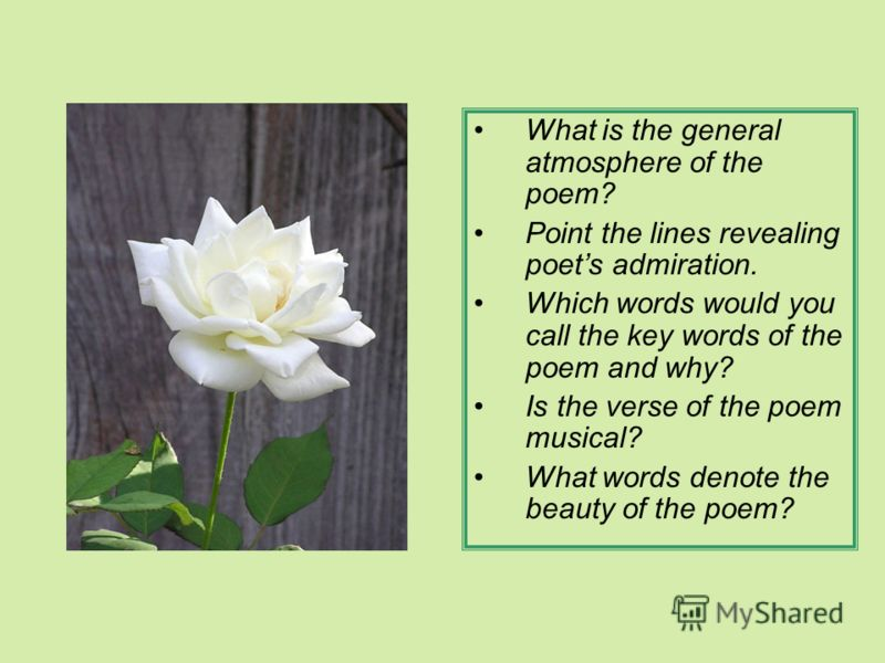 What is the general atmosphere of the poem? Point the lines revealing poets admiration. Which words would you call the key words of the poem and why? Is the verse of the poem musical? What words denote the beauty of the poem?