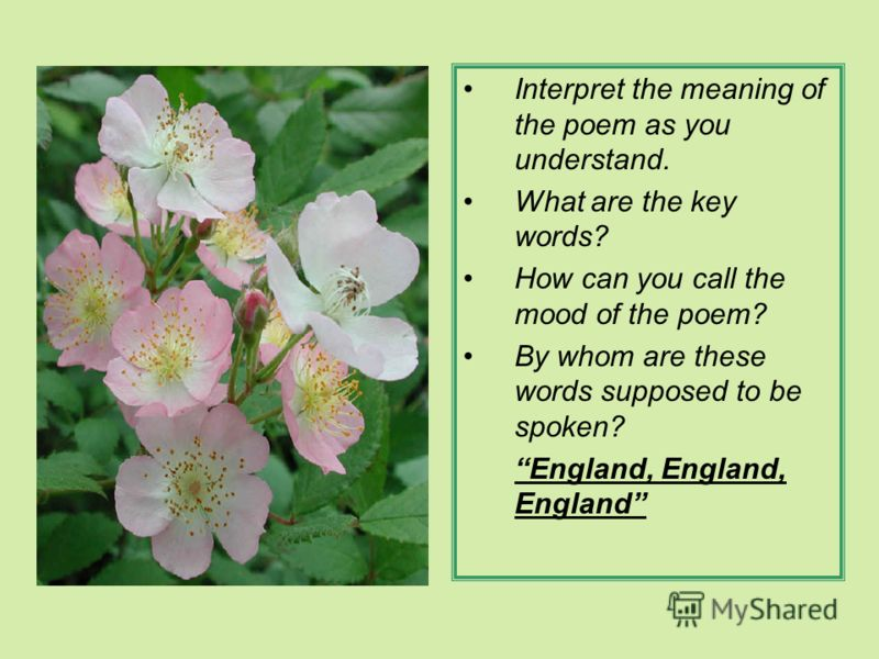 Interpret the meaning of the poem as you understand. What are the key words? How can you call the mood of the poem? By whom are these words supposed to be spoken? England, England, England