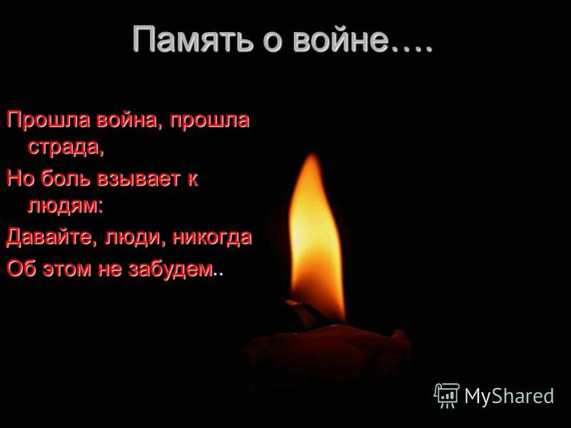 Память о войне…. Прошла война, прошла страда, Но боль взывает к людям: Давайте, люди, никогда Об этом не забудем..