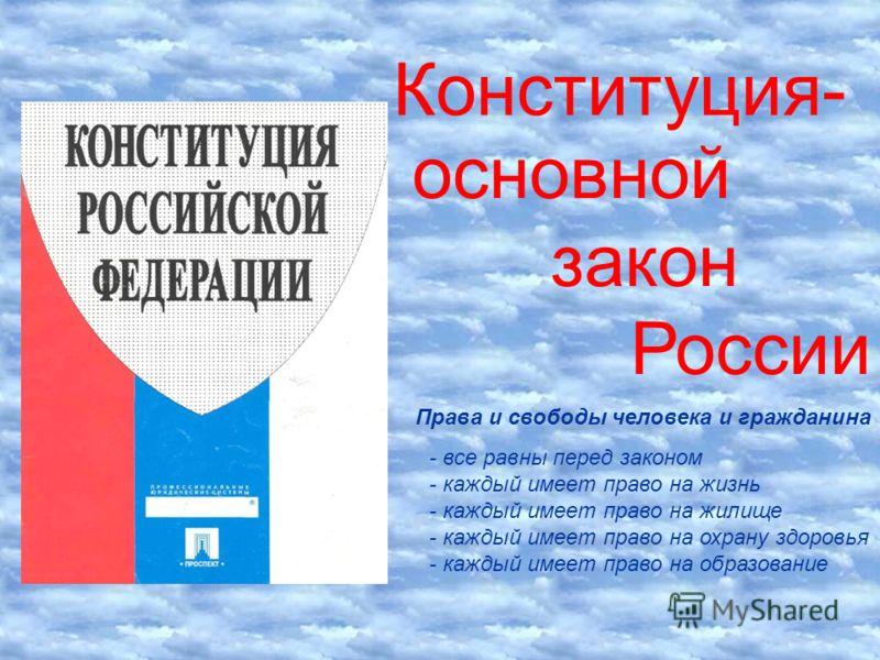 Конституция- основной закон России Права и свободы человека и гражданина - все равны перед законом - каждый имеет право на жизнь - каждый имеет право на жилище - каждый имеет право на охрану здоровья - каждый имеет право на образование