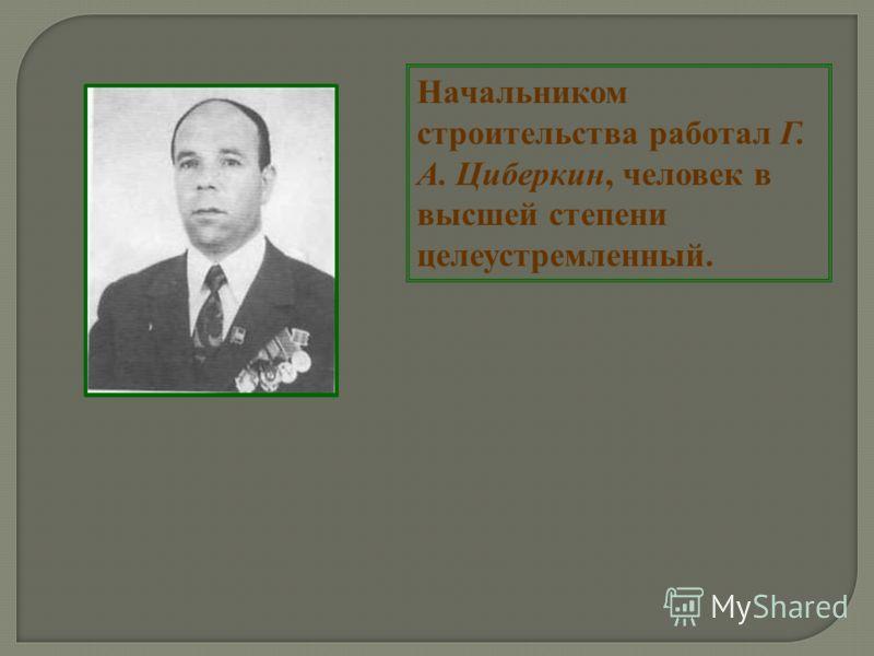 Начальником строительства работал Г. А. Циберкин, человек в высшей степени целеустремленный.