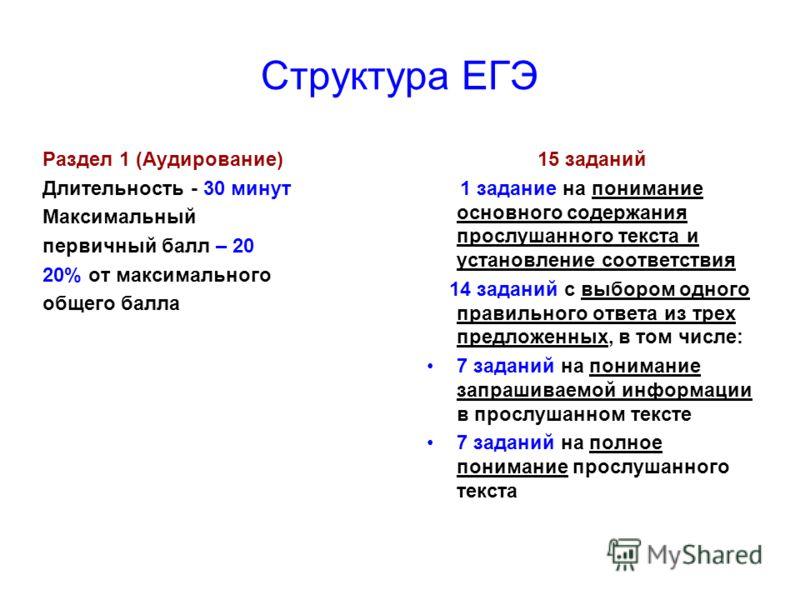Структура ЕГЭ Раздел 1 (Аудирование) Длительность - 30 минут Максимальный первичный балл – 20 20% от максимального общего балла 15 заданий 1 задание на понимание основного содержания прослушанного текста и установление соответствия 14 заданий с выбор