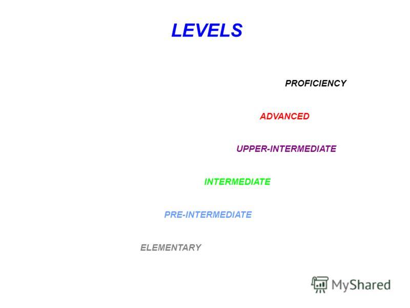 LEVELS PROFICIENCY ADVANCED UPPER-INTERMEDIATE INTERMEDIATE PRE-INTERMEDIATE ELEMENTARY