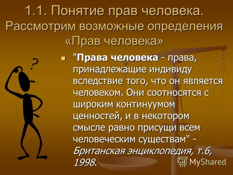 1.Права человека как концепция 1.1. Понятие прав человека 1.1. Понятие прав человека 1.2. Права человека как часть концепции естественного права 1.2. Права человека как часть концепции естественного права 1.3. Права человека как центральная часть кон