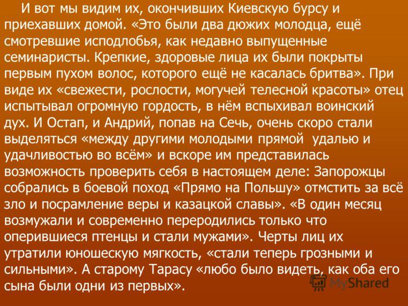И вот мы видим их, окончивших Киевскую бурсу и приехавших домой. «Это были два дюжих молодца, ещё смотревшие исподлобья, как недавно выпущенные семинаристы. Крепкие, здоровые лица их были покрыты первым пухом волос, которого ещё не касалась бритва».