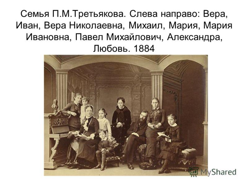 Семья П.М.Третьякова. Слева направо: Вера, Иван, Вера Николаевна, Михаил, Мария, Мария Ивановна, Павел Михайлович, Александра, Любовь. 1884