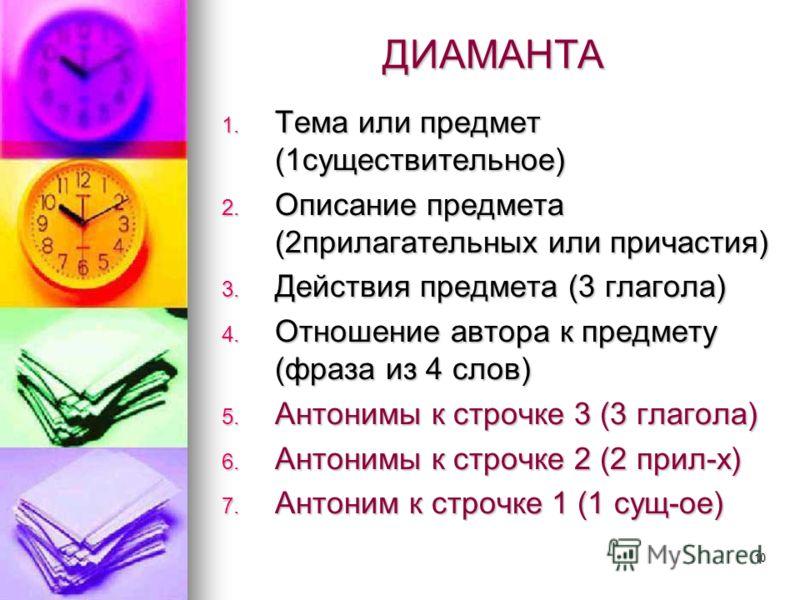10 ДИАМАНТА 1. Тема или предмет (1существительное) 2. Описание предмета (2прилагательных или причастия) 3. Действия предмета (3 глагола) 4. Отношение автора к предмету (фраза из 4 слов) 5. Антонимы к строчке 3 (3 глагола) 6. Антонимы к строчке 2 (2 п