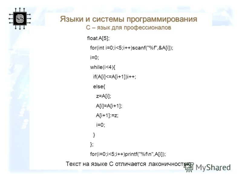86 Текст на языке С отличается лаконичностью float A[5]; for(int i=0;i