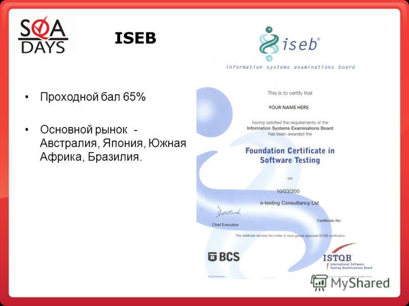 ISEB Проходной бал 65% Основной рынок - Австралия, Япония, Южная Африка, Бразилия.
