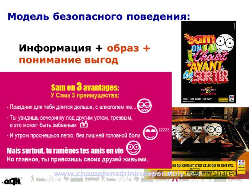 Модель безопасного поведения: Информация + образ + понимание выгод www.championsdrinkresponsibly.com