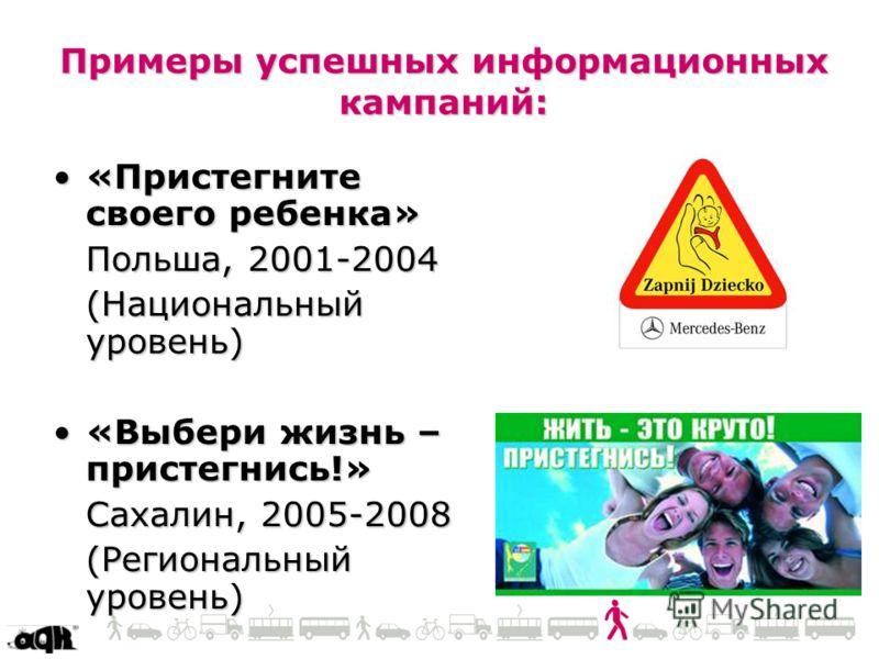 Примеры успешных информационных кампаний: «Пристегните своего ребенка»«Пристегните своего ребенка» Польша, 2001-2004 (Национальный уровень) «Выбери жизнь – пристегнись!»«Выбери жизнь – пристегнись!» Сахалин, 2005-2008 (Региональный уровень)