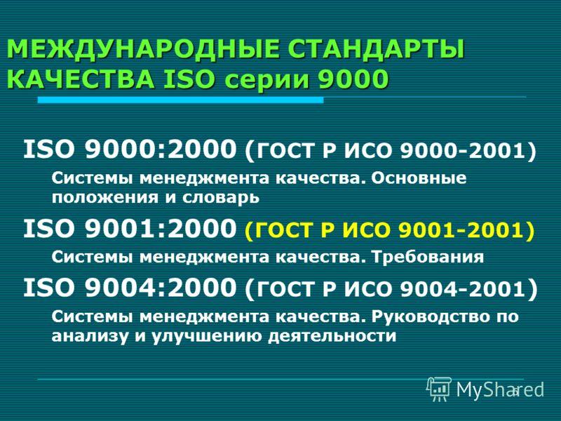 6 МЕЖДУНАРОДНЫЕ СТАНДАРТЫ КАЧЕСТВА ISO серии 9000 ISO 9000:2000 ( ГОСТ Р ИСО 9000-2001) Системы менеджмента качества. Основные положения и словарь ISO 9001:2000 (ГОСТ Р ИСО 9001-2001) Системы менеджмента качества. Требования ISO 9004:2000 ( ГОСТ Р ИС