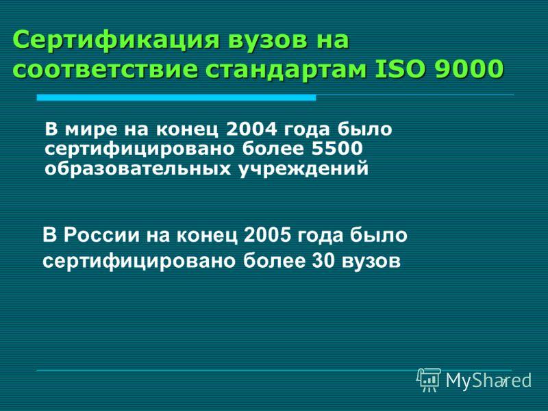 7 Сертификация вузов на соответствие стандартам ISO 9000 В мире на конец 2004 года было сертифицировано более 5500 образовательных учреждений В России на конец 2005 года было сертифицировано более 30 вузов