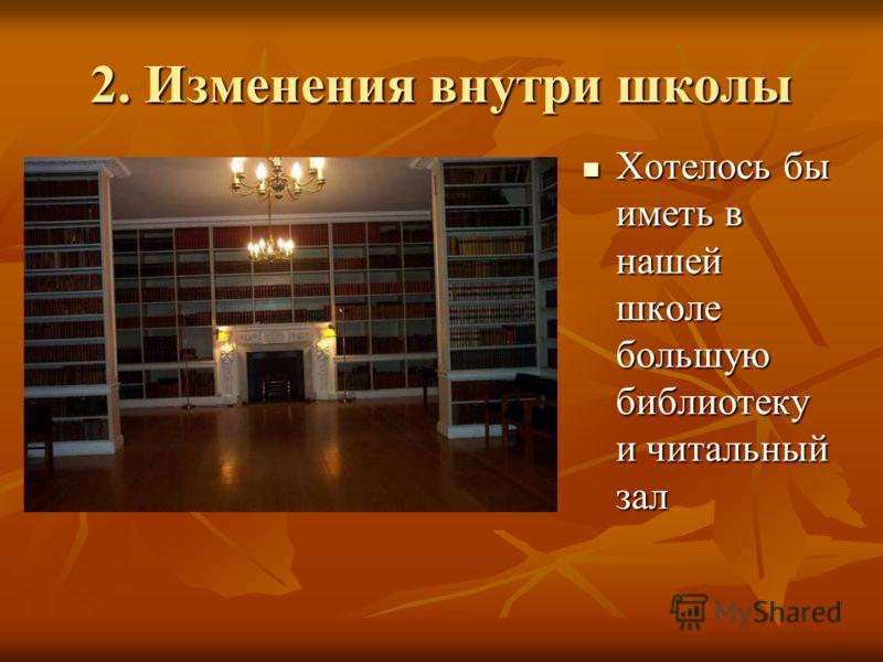 2. Изменения внутри школы Хотелось бы иметь в нашей школе большую библиотеку и читальный зал Хотелось бы иметь в нашей школе большую библиотеку и читальный зал