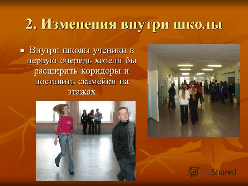 2. Изменения внутри школы Внутри школы ученики в первую очередь хотели бы расширить коридоры и поставить скамейки на этажах Внутри школы ученики в первую очередь хотели бы расширить коридоры и поставить скамейки на этажах