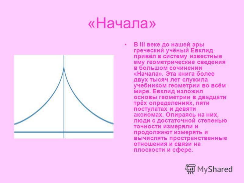 «Начала» В III веке до нашей эры греческий учёный Евклид привёл в систему известные ему геометрические сведения в большом сочинении «Начала». Эта книга более двух тысяч лет служила учебником геометрии во всём мире. Евклид изложил основы геометрии в д