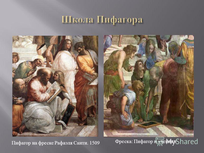 Пифагор на фреске Рафаэля Санти. 1509 Фреска : Пифагор и ученики