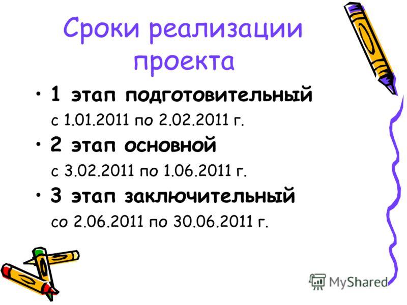 Сроки реализации проекта 1 этап подготовительный с 1.01.2011 по 2.02.2011 г. 2 этап основной с 3.02.2011 по 1.06.2011 г. 3 этап заключительный со 2.06.2011 по 30.06.2011 г.