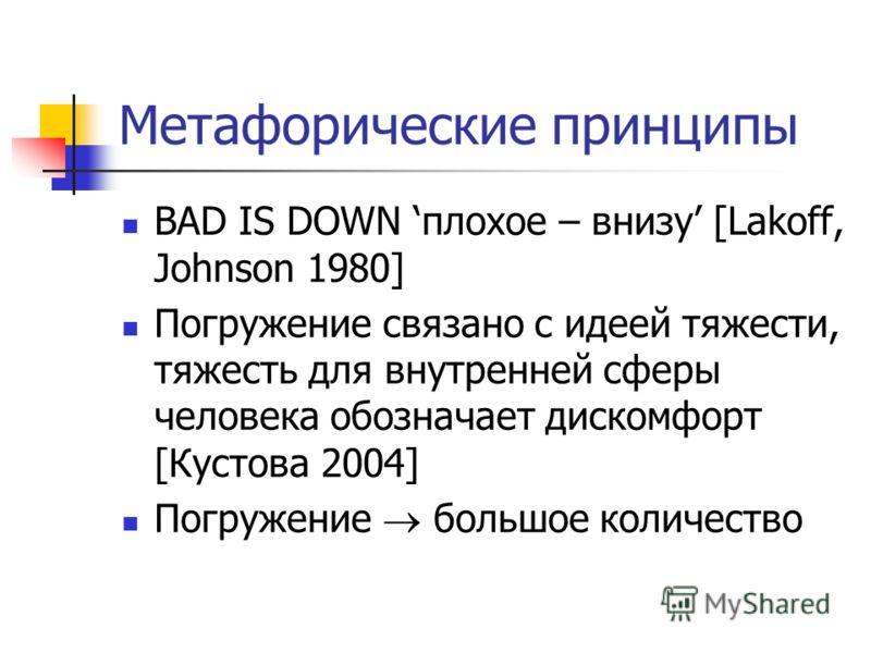 Метафорические принципы BAD IS DOWN плохое – внизу [Lakoff, Johnson 1980] Погружение связано с идеей тяжести, тяжесть для внутренней сферы человека обозначает дискомфорт [Кустова 2004] Погружение большое количество