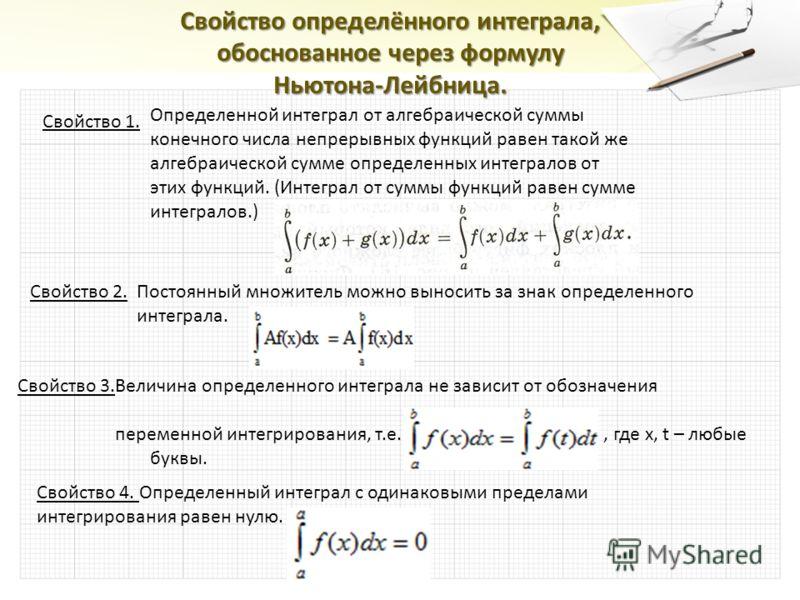 Свойство определённого интеграла, обоснованное через формулу Ньютона-Лейбница. Свойство 1. Определенной интеграл от алгебраической суммы конечного числа непрерывных функций равен такой же алгебраической сумме определенных интегралов от этих функций.
