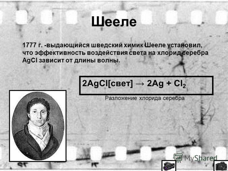 Шееле 1777 г. -выдающийся шведский химик Шееле установил, что эффективность воздействия света на хлорид серебра AgCl зависит от длины волны. Разложение хлорида серебра 2AgCl[свет] 2Ag + Cl 2