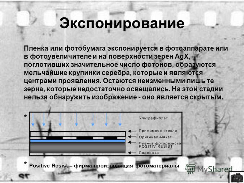 Экспонирование Пленка или фотобумага экспонируется в фотоаппарате или в фотоувеличителе и на поверхности зерен AgX, поглотивших значительное число фотонов, образуются мельчайшие крупинки серебра, которые и являются центрами проявления. Остаются неизм