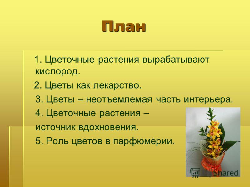 План План 1. Цветочные растения вырабатывают кислород. 2. Цветы как лекарство. 3. Цветы – неотъемлемая часть интерьера. 4. Цветочные растения – источник вдохновения. 5. Роль цветов в парфюмерии.
