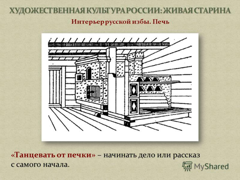 Интерьер русской избы. Печь «Танцевать от печки» – начинать дело или рассказ с самого начала.