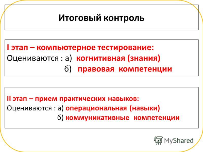 I этап – компьютерное тестирование: Оцениваются : а) когнитивная (знания) б) правовая компетенции Итоговый контроль II этап – прием практических навыков: Оцениваются : а) операциональная (навыки) б) коммуникативные компетенции