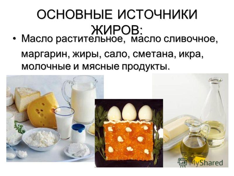 ОСНОВНЫЕ ИСТОЧНИКИ ЖИРОВ: Масло растительное, масло сливочное,Масло растительное, масло сливочное, маргарин, жиры, сало, сметана, икра, молочные и мясные продукты. маргарин, жиры, сало, сметана, икра, молочные и мясные продукты.