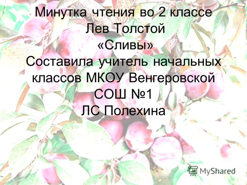 Минутка чтения во 2 классе Лев Толстой «Сливы» Составила учитель начальных классов МКОУ Венгеровской СОШ 1 ЛС Полехина